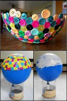 Looking for a some fun craft ideas? How about BUTTONS! They come in so many colors and sizes and you can do so much with them! Don't believe me that the craft options are endless? Check out these 35 cool diy craft projects! Diy Craft Projects, Kids Crafts, Summer Crafts, Crafts To Make, Easy Crafts, Arts And Crafts, Paper Crafts, Craft Ideas, Ideas Decoración