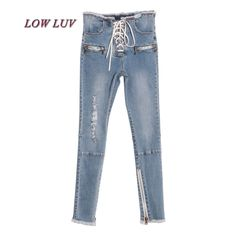33.89$  Buy now -  2017 Summer Women Lace up Ripped Jeans Pencil Pants Female Legging High Wiast Denim Trousers Clothes Korean Fashion AL975  #aliexpresschina