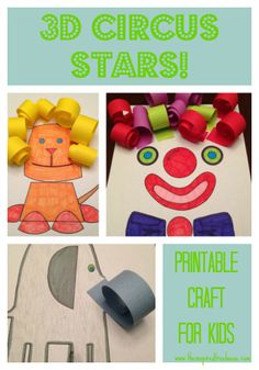 Cute elephant craft! Free Printable 3D Circus Stars for Practice Cutting and Curling Paper Strips from The Inspired Treehouse. #preschool #kidscrafts #circus