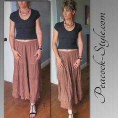 #FashionOver40 Larger tan skirt with tight gray t-shirt