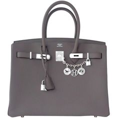 Pre-Owned Hermes Etain Togo 35cm Birkin Palladium Hardware PHW 2016 X... ($20,750) ❤ liked on Polyvore featuring etain, handbags totes, hermes purse, leather tote bags, grey leather handbags and gray leather handbags