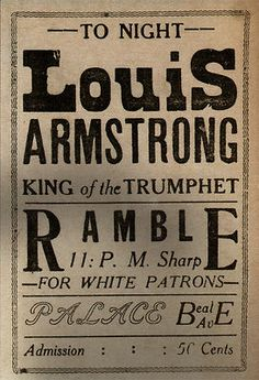 """Louis Armstrong """"For White Patrons"""""""
