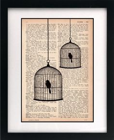 obsessed with these vintage dictionary pages and printed birdcages. I want them all! thanks littlebluebirdstudios (etsy)
