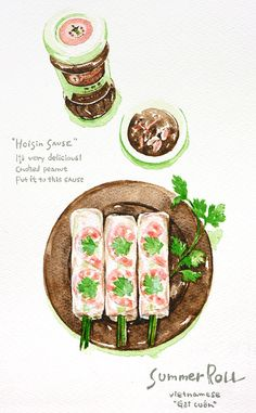 inaco works other touch - foods - ina cco - Picasa ウェブ アルバム Chibi Food, Cute Food Art, Food Sketch, Watercolor Food, Food Painting, Vietnamese Recipes, Vietnamese Food, Food Backgrounds, Food Drawing