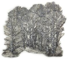 Distant Forest Series by Lesley Richmond, etching.  Silver Forest  107 cm x 102 cm