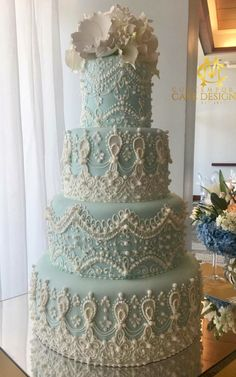 Light Blue Lace Cake – the detailing though! Light Blue Lace Cake – the detailing though! Beautiful Wedding Cakes, Gorgeous Cakes, Pretty Cakes, Amazing Cakes, Unique Cakes, Elegant Cakes, Creative Cakes, Royal Icing Cakes, Cake Icing