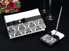 Lillian Rose 10-Inch Black Damask Guest Book with 5.25-Inch Pen Set Lillian Rose http://www.amazon.com/dp/B006UTH92C/ref=cm_sw_r_pi_dp_ZJzQvb1DQZH3K