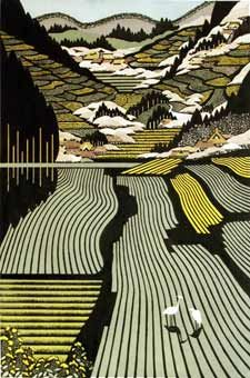 Tanada by Ray Morimura  woodblock