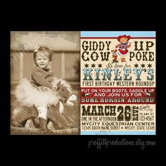 Vintage Cowgirl photo birthday party invitation in aqua and red - digital file. $10.00, via Etsy.
