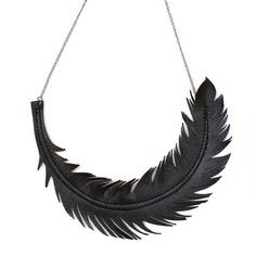Feather necklace cut from Italian lambskin leather to look like a real black feather.