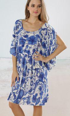 blue and white beach dress