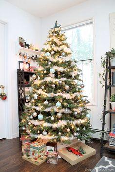 Blue and metallic Christmas tree decor, Blue Cottage Christmas Home Tour. #Christmas #Christmastree #vintage #home #tour #decor #cottage #farmhouse