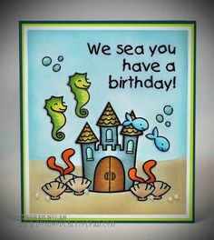 Lawn Fawn Critters in the Sea, Critters Ever After _ adorable scene with computer generated sentiment by Deborah