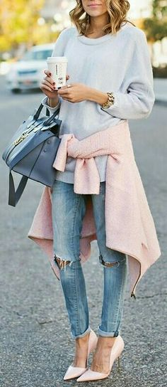 pastel pink sweater with light grey shirt and denim.