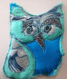 Fabric  Owl Coaster   blue Quilted hot pad OWL by pinksewingroom
