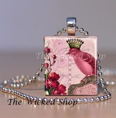 Scrabble Tile Jewelry - Bird with Crown Vintage Inspired Pink Pendant - Scrabble Tile Pendant Free Silver Plated Ball Chain via Etsy: Teen Jewelry, China Jewelry, Bird Jewelry, Jewelry Crafts, Scrabble Tile Jewelry, Bird Free, Pink Pendants, Free Silver, Simple Jewelry