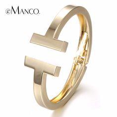 eManco 3 colors Steampunk C*C Metal Bracelets & Bangles for Women Black & Gold Plated Bangles Fashion Jewelry