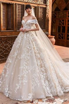 Wedding Dresses Simple, Glamorous Tulle Off-the-shoulder Neckline Ball Gown Wedding Dresses With Beadings & Lace Appliques, Shop discount wedding dresses and sales. Don't miss out, shop clearance wedding dresses before they're gone! Puffy Wedding Dresses, Fairy Wedding Dress, How To Dress For A Wedding, Wedding Dresses Plus Size, Perfect Wedding Dress, Tulle Wedding, Cheap Wedding Dress, Bridal Dresses, Wedding Gowns