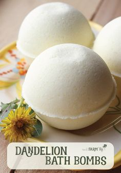 Dandelion Bath Bombs Recipe - These bath bombs feature dandelion flower infused oil which is often used in preparations designed to soothe and heal chapped or cracked skin. It's also useful for sore muscles and other aches and pains. A few drops of sea buckthorn oil gives these bath bombs a pretty natural yellow color, but you could also add a small amount of yellow Brazilian clay for a different shade of yellow.