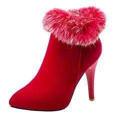 YE Damen Spitze High Heels Plateau Stiefeletten Stiletto Warm Gefüttert Ankle Boots mit Fell Reißverschluss 11cm Absatz