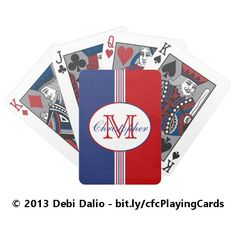 This deck of playing cards features red, white, and blue thick and thin vertical stripes topped with an oval containing a customizable name and initial. https://www.zazzle.com/red_white_blue_stripes_monogram_bicycle_playing_cards-256660072486826522?rf=238083504576446517&tc=20170203_pint_SSOZ #toys #games #monogram #StudioDalio #Zazzle