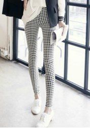 $6.45 Checked Straight Leg Slimming Casual Style Leggings For Women