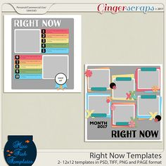 Right Now Templates by Miss Fish Templates