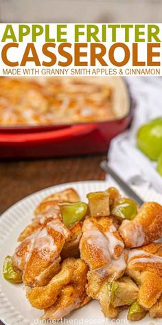 Apple Fritter Casserole is an easy breakfast treat that's made with crescent rolls, granny smith apples, brown sugar, cinnamon topped with an easy glaze! Apple Fritter Recipes, Apple Recipes Easy, Apple Dessert Recipes, Brunch Recipes, Breakfast Cassarole, Breakfast Casserole French Toast, Savory Breakfast, Breakfast Time, Easy Cooking