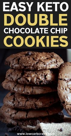 These low carb and sugar-free homemade cookies are seriously good! Flourless, healthy and gluten-free recipe. They are chewy, moist and rich in chocolate flavor! Keto Cookies, Sugar Free Cookies, Cookies Et Biscuits, Low Calorie Cookies, Pudding Cookies, Oatmeal Cookies, Keto Desserts, Sugar Free Desserts, Sugar Free Recipes