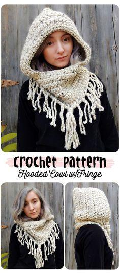 crochet pattern hooded cowl fringe pinterest