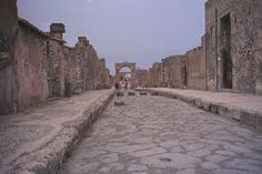 Pompeii ITALY  - the small white stones inbetween the large stones were illuminated by the moon (when out) to see the road...brilliant