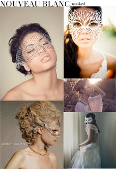 One item in particular, theMasquerade mask (seen above) has been getting tons of well deserved buzz. This silver guipure embroidered mask with silk ribbon ties and eye-grabbing style is the inspiration behind today's question: Are bridal masks the new black? You decide!
