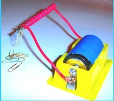 An electromagnet is a magnet that can be turned on and off. It is made with current electricity.   Reminder : Adult supervision is needed ...