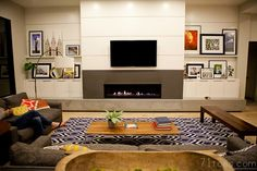 Love this room. I would have wood cabinets instead. Plus, I would like carpet and rock around the fireplace. Built In Furniture, Home Furniture, Modern Furniture, Shelves Around Fireplace, Family Room Design, Family Rooms, Built In Shelves, Built Ins, Home Living Room