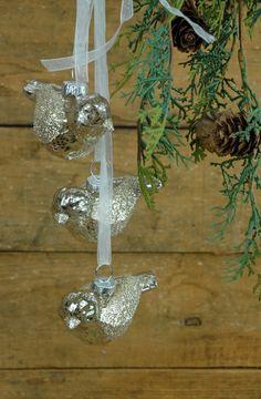 Glass Bird Ornaments (Set of 3)