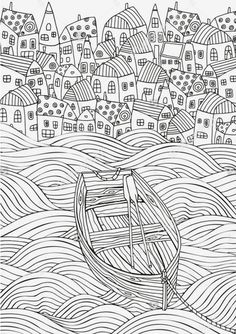 Wooden boat floating on the waves. Seaside, homes, boat, sea background Zentangle style for adult coloring book.