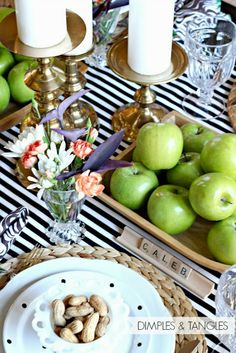Dimples and Tangles: EARLY FALL TABLESCAPE Fall table setting, green apples, texture, brass candlesticks, black and white stripes, scrabble place cards, peanuts, polka dot plates