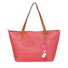 [Dolce Pink Lady] Fashion Double Handle Leatherette Satchel Bag Handbag Purse