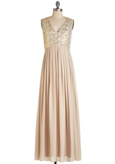 Fairytale Fête Dress - Long, Chiffon, Woven, Tan, Solid, Sequins, Special Occasion, Prom, Wedding, Bridesmaid, Homecoming, Sleeveless, V Neck