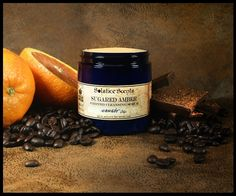 MIDNIGHT OIL SUGARED AMBER WHIPPED CLEANSING SCRUB: Cocoa Absolute, Blood Orange EO, Yellow Mandarin EO, Aged Patchouli EO, Labdanum & Mushroom Absolute