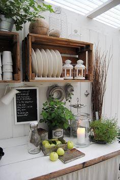 Lag et utekjøkken og flytt ut Decorating Your Home, Interior Decorating, Interior Design, Diy Garden Decor, Diy Home Decor, Rustic Kitchen, Kitchen Decor, Kitchen Tiles, Rustic Bathroom Designs