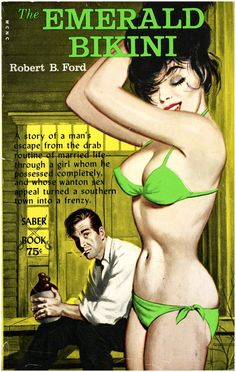 That bikini is more of a chartreuse than emerald...I do believe I must read this book though.
