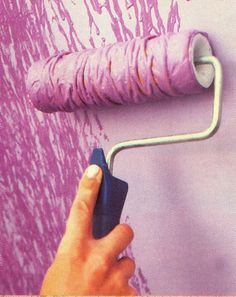 Tie yarn around a paint roller for an awesome effect! Love! on canvas? on one wall?