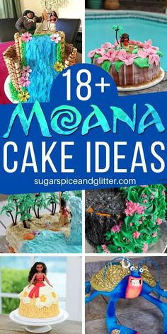 The BEST Moana Cake Ideas for a Moana Birthday Party. Each of these cakes comes with a complete tutorial on how to make it (no more frustrating picture-only inspiration that leaves you to figure out how to make it on your own) Luau Cakes, Beach Cakes, Moana Birthday Party, Disney Birthday, Moana Party, Birthday Parties, Waterfall Cake, Country Themed Parties, Slab Cake