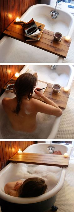 Bath Tub Caddy // This could be the best or worst idea.. either way, I want it!