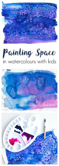 to Paint Space in Watercolours with Kids Learn how to paint space and with watercolours in a simple way that children can accomplish!Learn how to paint space and with watercolours in a simple way that children can accomplish! Space Watercolor, Space Painting, Liquid Watercolor, Watercolor Projects, Painting For Kids, Art For Kids, Painting With Salt, Watercolor With Salt, Watercolour For Kids