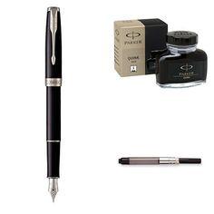PARKER Sonnet Fountain Pen Set Black Lacquer with Palladium Trim Medium Nib with Black Ink Bottle