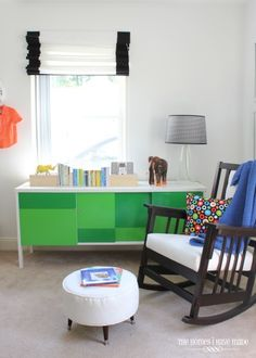 Repurposed office file unit from a salvage company used as a credenza. Bright color blocking with a cabinet paint brightens up the whole room.