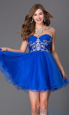 Shop for illusion high neck party dresses and sleeveless beaded short prom dresses at Simply Dresses. Short beaded open back Alyce prom dresses.