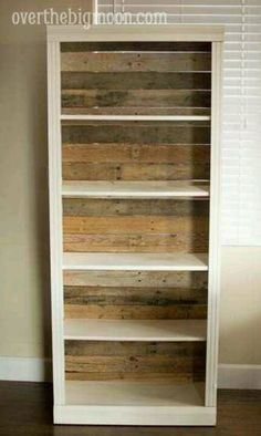 Take board of back of book shelf & add wood as seen... Creates a whole new look. Can add fabric or wallpaper too. Stencil... perhaps.
